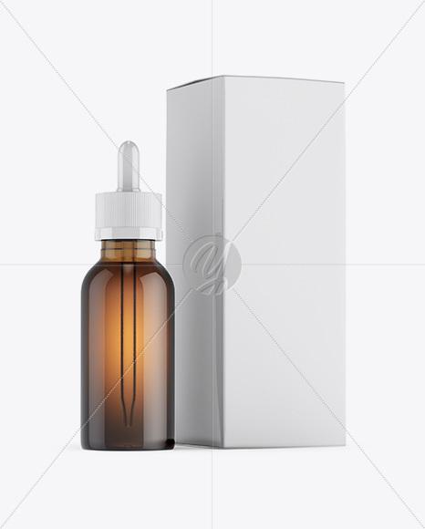 Amber Glass Dropper Bottle W/ Glossy Paper Box Mockup