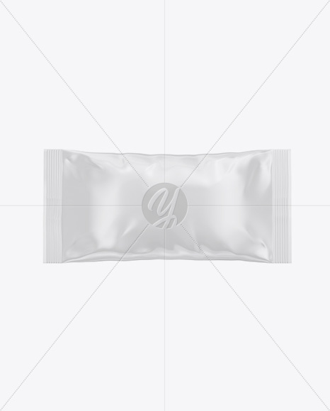 Glossy Snack Bag Mockup - Front View