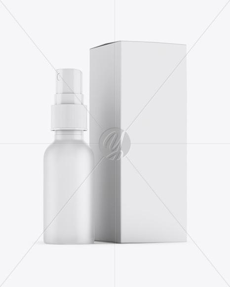 Matte Spray Bottle W/ Matte Paper Box Mockup