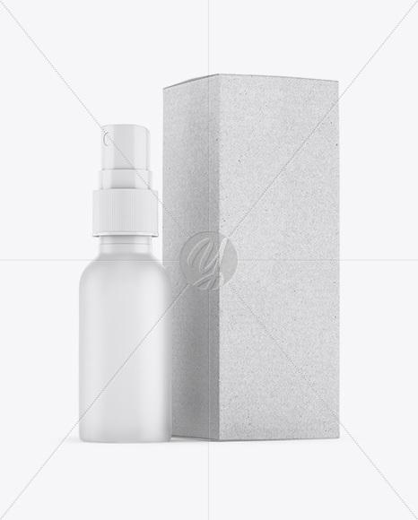 Matte Spray Bottle W/ Kraft Paper Box Mockup