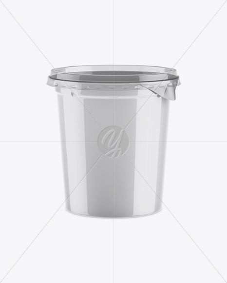 Glossy Plastic Cup Mockup - Front View (High-Ange Shot)