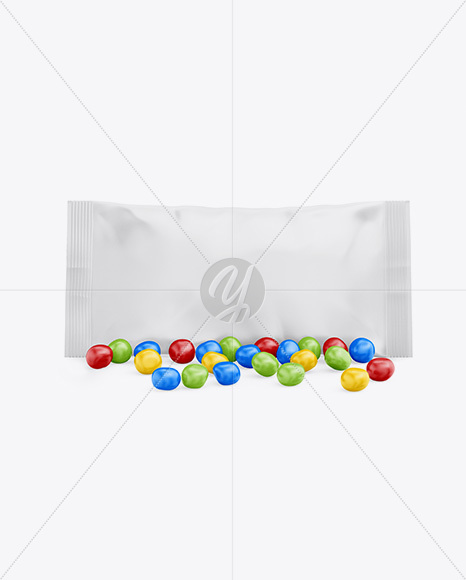 Matte Snack Bag With Candies Mockup - Front View