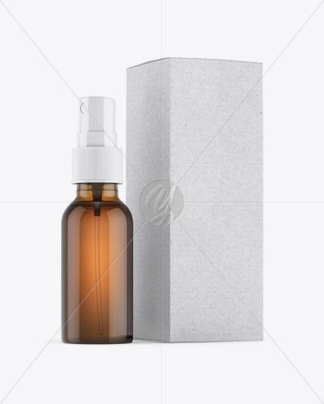 Amber Spray Bottle W/ Kraft Paper Box Mockup