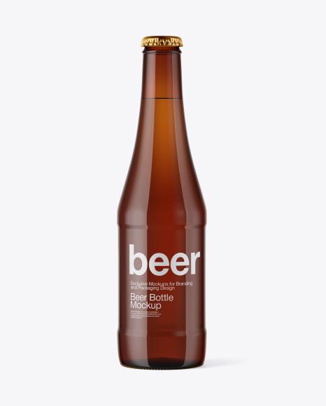 Download Glass Amber Bottle with Lager Beer Mockup Object Mockups