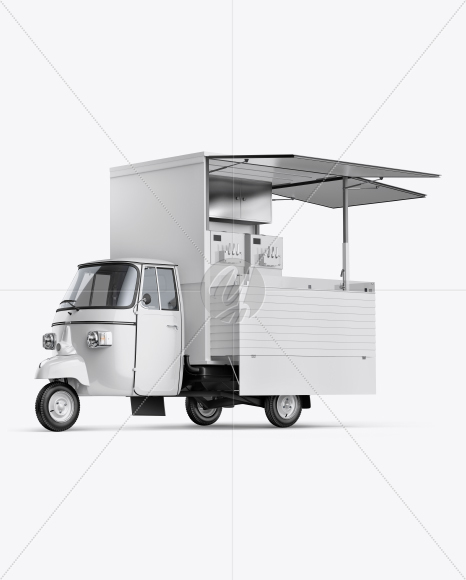 Ice Cream Truck Mockup - Front Half Side View