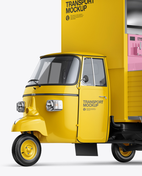 Download Ice Cream Truck Mockup - Front Half Side View Object Mockups