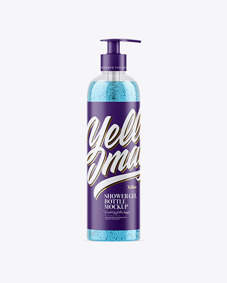 Clear Shower Gel-Scrub Bottle Mockup