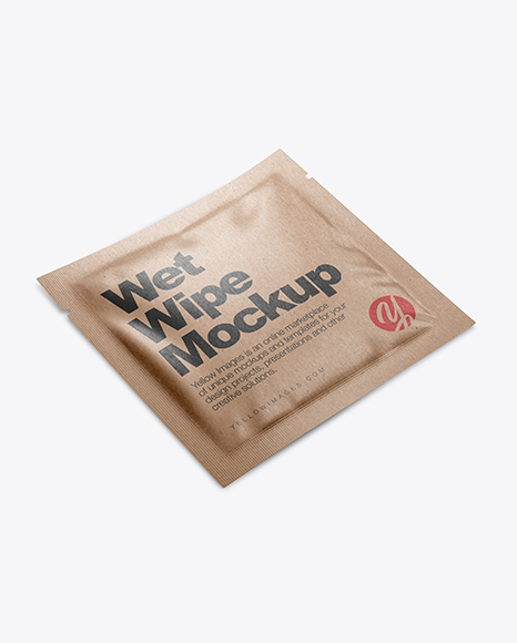 Kraft Wet Wipe Pack Mockup - Half Side View (High Angle Shot)