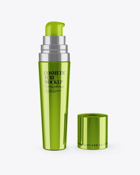 Download Free Opened Metallic Cosmetic Tube Mockup PSD Template