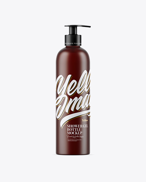 Download Free Frosted Amber Shower Gel Bottle with Pump Mockup PSD Template
