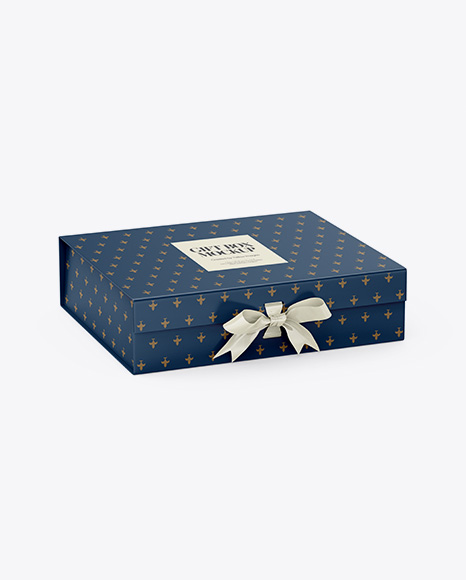 Download Matte Gift Box With Bow Mockup - Half Side View (High-Angle Shot) Object Mockups