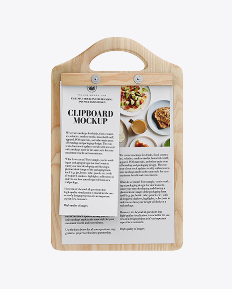 Download Wooden Clipboard With Papers Mockup - Front View Object Mockups