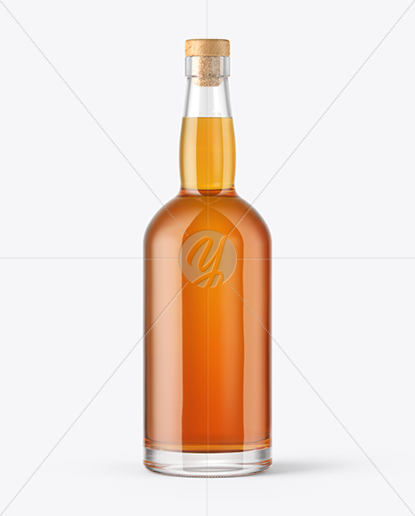 750ml Whiskey Bottle with Wooden Cap Mockup