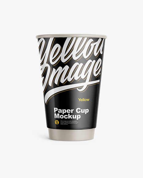 Download Free Glossy Paper Coffee Cup Mockup - Front View PSD Template