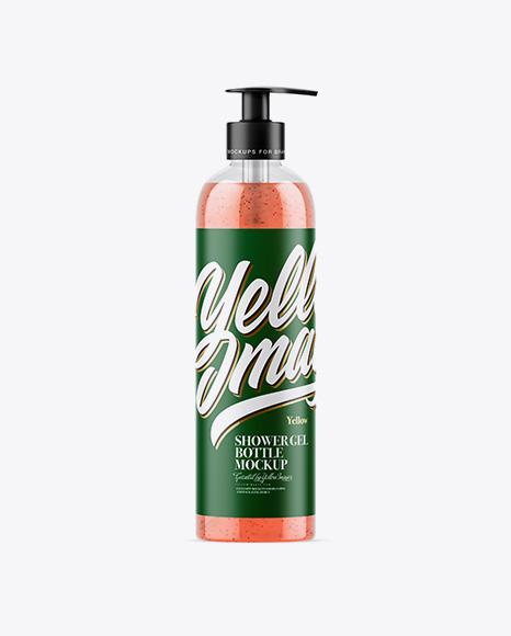 Clear Shower Gel-Scrub Bottle Mockup