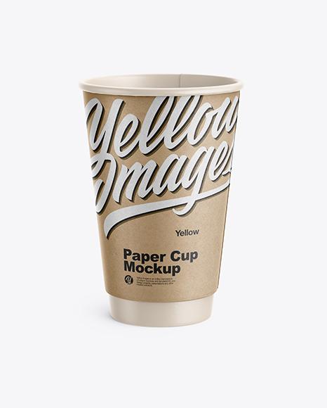 Kraft Coffee Cup Mockup - Front View (High-Angle Shot)