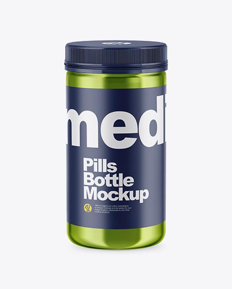 Metallic Pills Bottle Mockup - High-Angle Shot