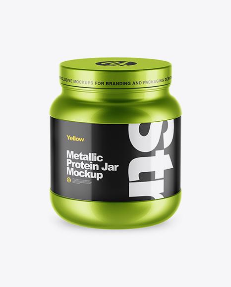 Metallic Protein Jar Mockup - High-Angle Shot