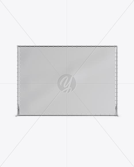 Press Wall Banner with Metallic Frame Mockup