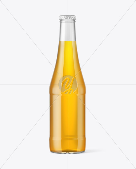 Glass Bottle with Lager Beer Mockup
