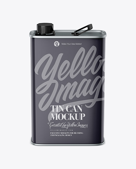 Download Glossy Tin Can Mockup - Front View (High-Angle Shot) Object Mockups
