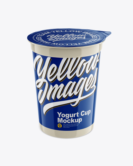 Download Free Plastic Yogurt Cup with Foil Lid Mockup - Front View (High Angle Shot) PSD Template