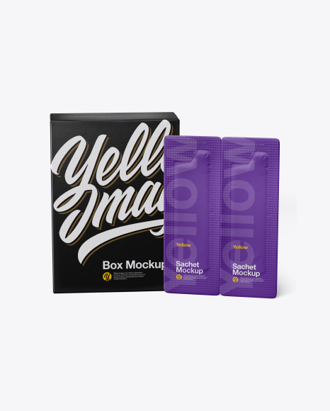 Download Box With Sachets Mockup - Front View Object Mockups