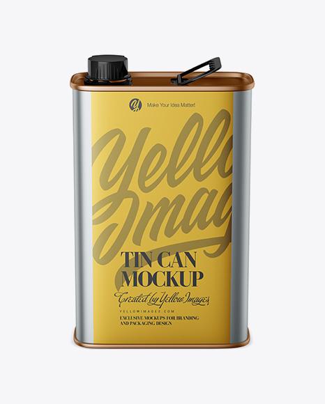 Metallic Tin Can Mockup - Front View (High-Angle Shot)