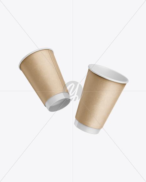 Download Two Kraft Coffee Cups Mockup Free Mockups