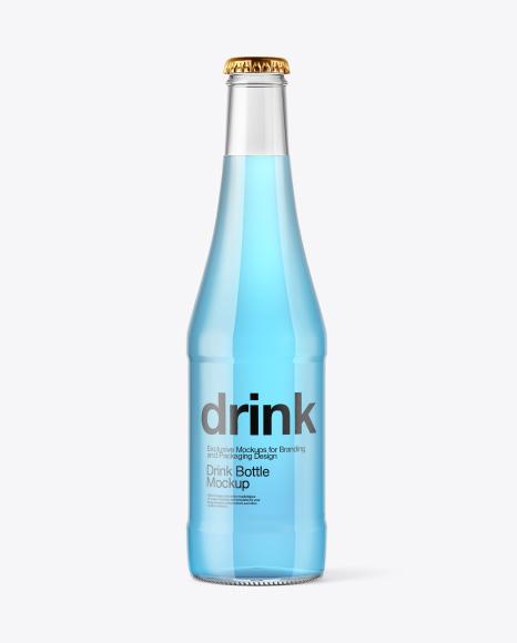 Download Glass Bottle with Blue Drink Mockup Object Mockups