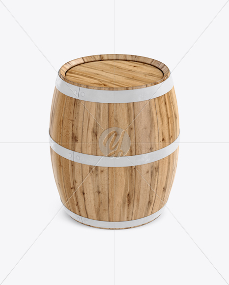 Wooden Barrel Mockup - Front View (High-Angle Shot)