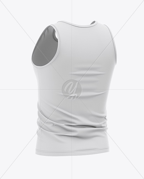 Men's Jersey Tank Top Mockup - Back Half Side View