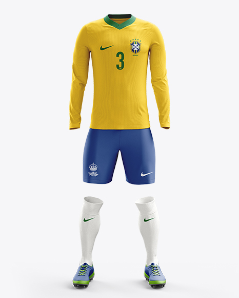 Football Kit with V-Neck Long Sleeve Mockup / Front View