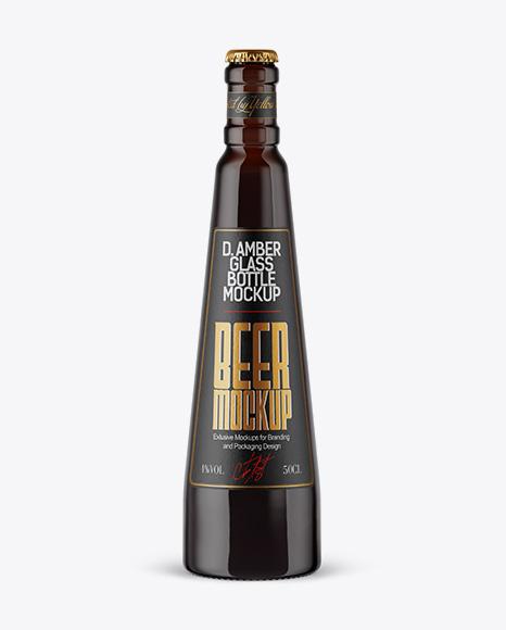 Dark Amber Beer Bottle Mockup