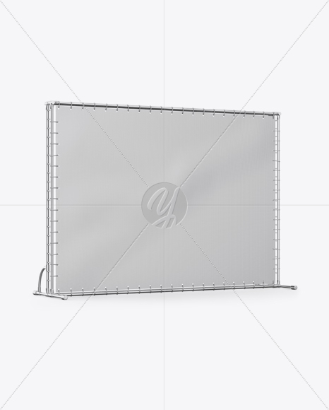 Press Wall Banner with Metallic Frame Mockup - Halfside View