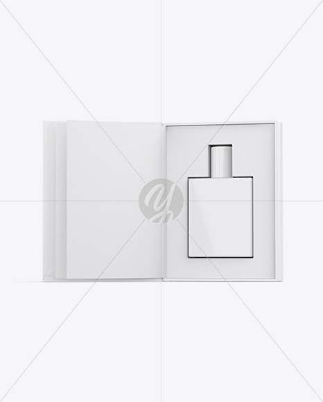 Glossy Gift Box With Perfume Bottle Mockup - Front View