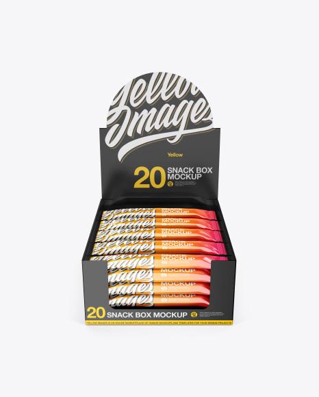 20 Glossy Snack Bars Box Mockup - Front View (High-Angle Shot)