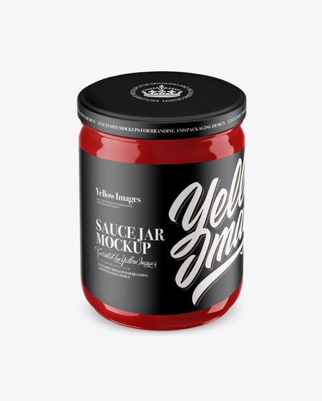 Download Glossy Sauce Jar Mockup (High Angle Shot) Object Mockups