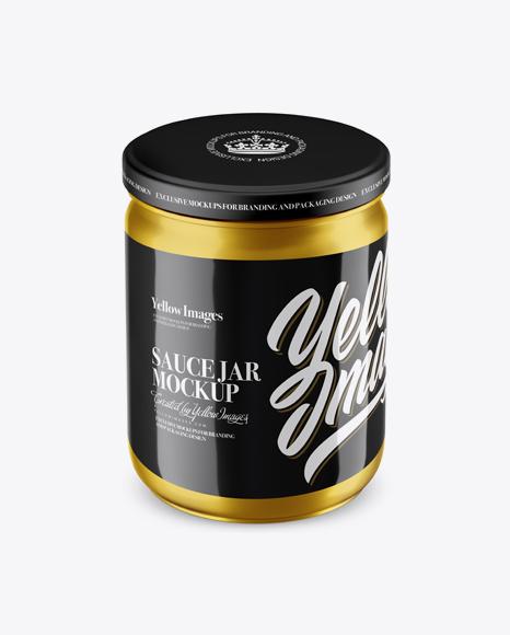 Download Metallic Sauce Jar Mockup (High Angle Shot) Object Mockups