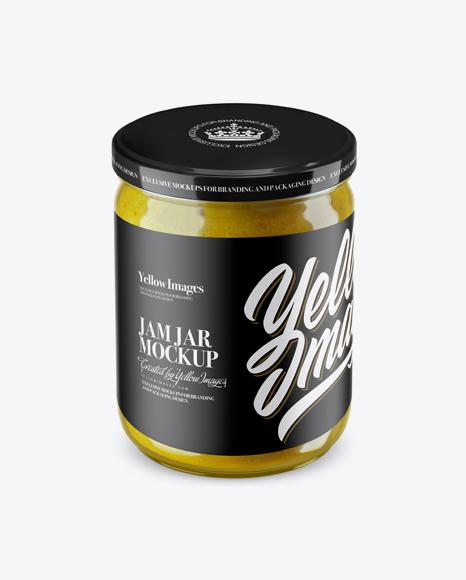 Clear Jar with Yellow Jam Mockup (High Angle Shot)