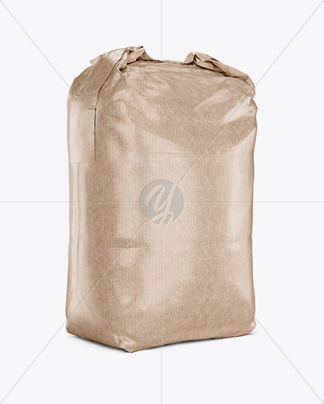 2 kg Kraft Paper Bag Mockup - Halfside View