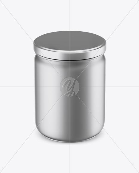 Matte Metallic Sauce Jar Mockup (High Angle Shot)