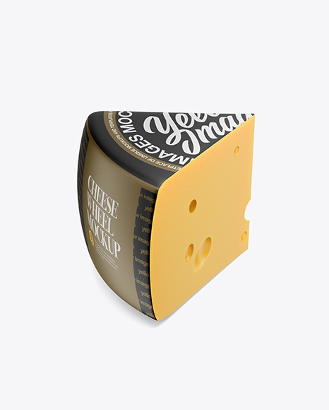 Download Piece of Cheese Wheel Mockup - Half Side View (High Angle Shot) Object Mockups