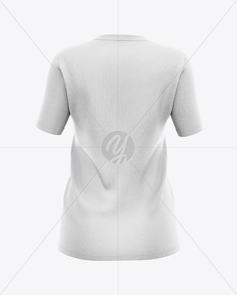 Women`s V-Neck T-Shirt Mockup - Back View