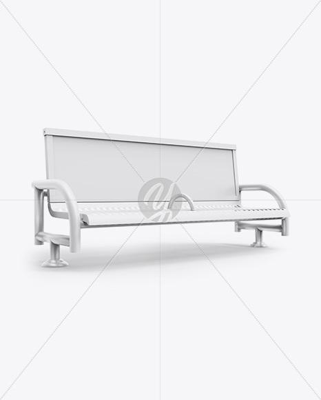 Street Bench Advertising Mockup Half Side View In Outdoor