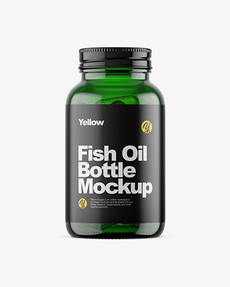 Download Free Green Glass Fish Oil Bottle Mockup PSD Template