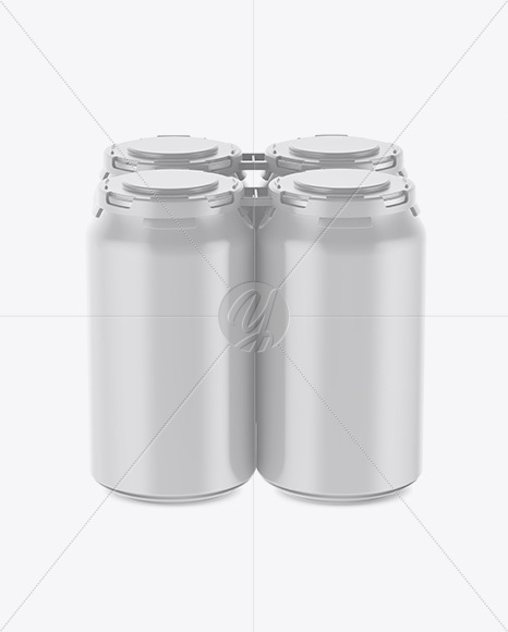 Pack of 4 Matte Cans with Plastic Holder Mockup - Front View (High Angle Shot)