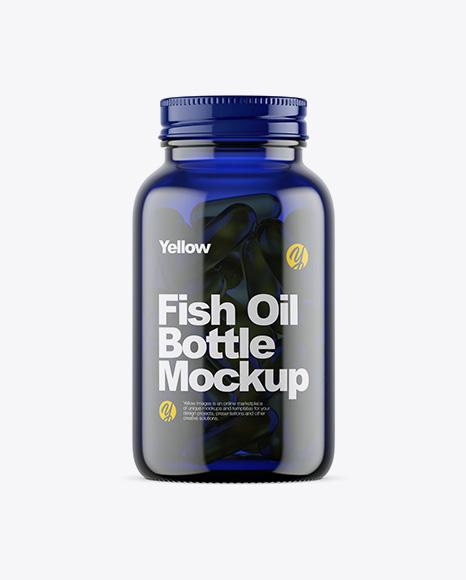 Download Dark Blue Glass Fish Oil Bottle Mockup Object Mockups