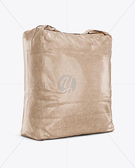 5 kg Kraft Paper Bag Mockup - Halfside View