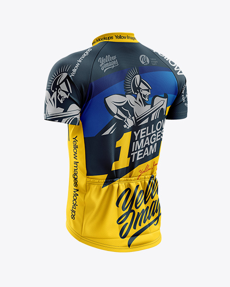 Men's Classic Cycling Jersey mockup (Back Half Side View)